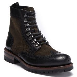 Frye George Adirondack Black/Brown Lace-Up Boot 8